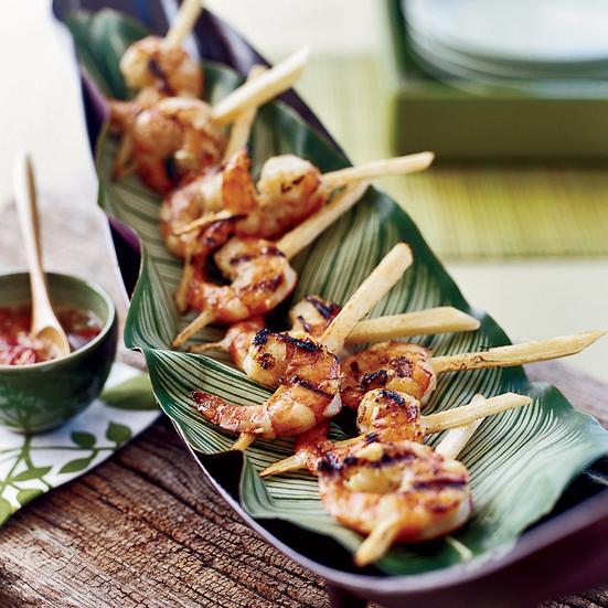 BBQ Shrimp Kebabs on Sugar Cane Skewers